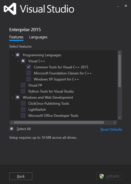Có thể chọn lựa những mục yêu thích trong quá trình cài đặt Visual Studio