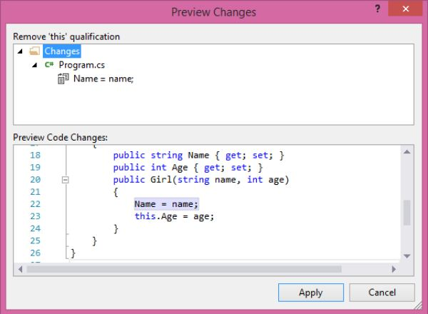 Preview changes ở phiên bản Visual Studio 2015